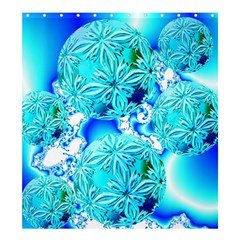 Blue Ice Crystals, Abstract Aqua Azure Cyan Shower Curtain 66  x 72  (Large)