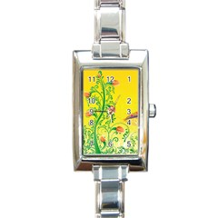 Whimsical Tulips Rectangular Italian Charm Watch