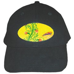 Whimsical Tulips Black Baseball Cap