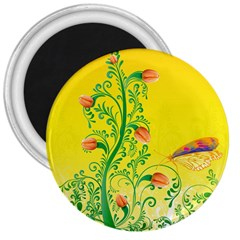 Whimsical Tulips 3  Button Magnet