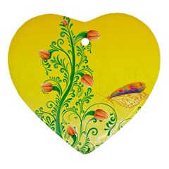 Whimsical Tulips Heart Ornament