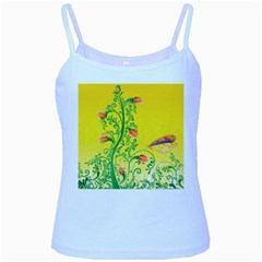 Whimsical Tulips Baby Blue Spaghetti Tank
