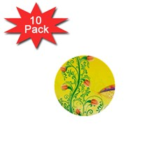 Whimsical Tulips 1  Mini Button (10 pack)