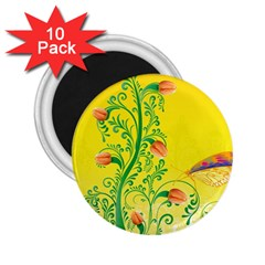 Whimsical Tulips 2.25  Button Magnet (10 pack)