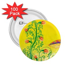 Whimsical Tulips 2.25  Button (100 pack)