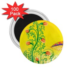 Whimsical Tulips 2.25  Button Magnet (100 pack)