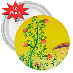 Whimsical Tulips 3  Button (10 pack)