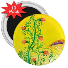 Whimsical Tulips 3  Button Magnet (10 pack)