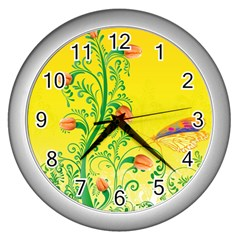 Whimsical Tulips Wall Clock (Silver)