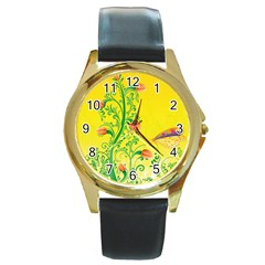 Whimsical Tulips Round Leather Watch (gold Rim)