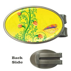 Whimsical Tulips Money Clip (oval)