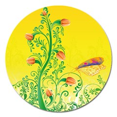 Whimsical Tulips Magnet 5  (Round)