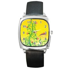 Whimsical Tulips Square Leather Watch