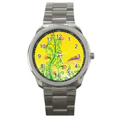 Whimsical Tulips Sport Metal Watch