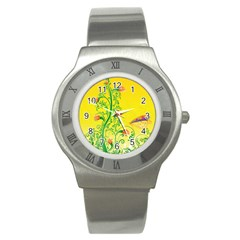 Whimsical Tulips Stainless Steel Watch (Slim)