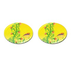 Whimsical Tulips Cufflinks (Oval)