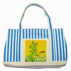 Whimsical Tulips Blue Striped Tote Bag