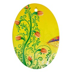 Whimsical Tulips Oval Ornament (Two Sides)