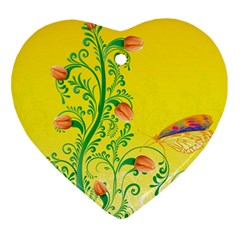 Whimsical Tulips Heart Ornament (Two Sides)