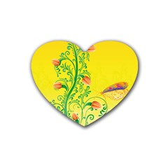 Whimsical Tulips Drink Coasters 4 Pack (Heart)