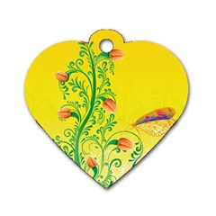 Whimsical Tulips Dog Tag Heart (Two Sided)