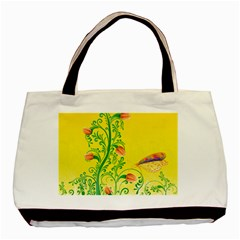 Whimsical Tulips Twin Sided Black Tote Bag
