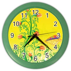 Whimsical Tulips Wall Clock (Color)