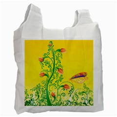 Whimsical Tulips White Reusable Bag (Two Sides)