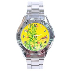 Whimsical Tulips Stainless Steel Watch