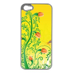 Whimsical Tulips Apple iPhone 5 Case (Silver)