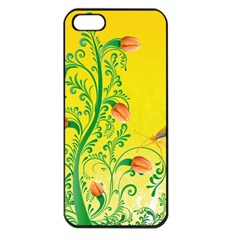 Whimsical Tulips Apple Iphone 5 Seamless Case (black)