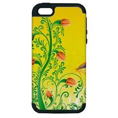 Whimsical Tulips Apple Iphone 5 Hardshell Case (pc+silicone)