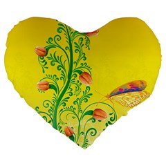 Whimsical Tulips 19  Premium Heart Shape Cushion