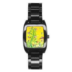 Whimsical Tulips Stainless Steel Barrel Watch