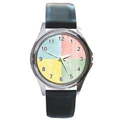 Pastel Textured Squares Round Leather Watch (Silver Rim)