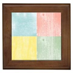Pastel Textured Squares Framed Ceramic Tile