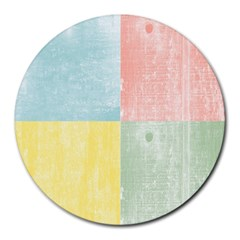 Pastel Textured Squares 8  Mouse Pad (Round)