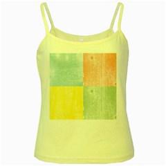 Pastel Textured Squares Yellow Spaghetti Tank