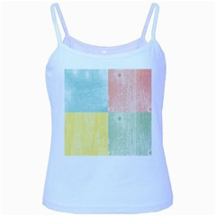Pastel Textured Squares Baby Blue Spaghetti Tank