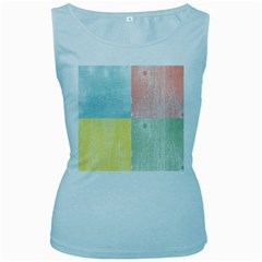 Pastel Textured Squares Women s Tank Top (Baby Blue)