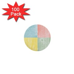 Pastel Textured Squares 1  Mini Button (100 pack)