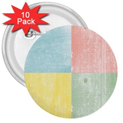 Pastel Textured Squares 3  Button (10 pack)
