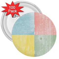 Pastel Textured Squares 3  Button (100 pack)