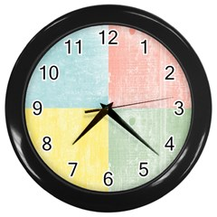 Pastel Textured Squares Wall Clock (Black)