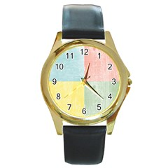 Pastel Textured Squares Round Leather Watch (gold Rim)