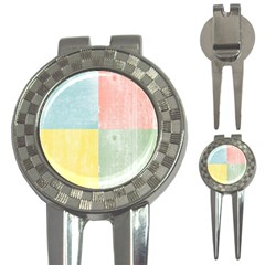 Pastel Textured Squares Golf Pitchfork & Ball Marker