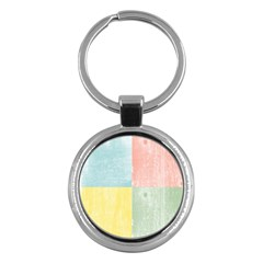 Pastel Textured Squares Key Chain (Round)