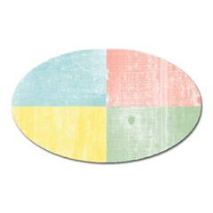 Pastel Textured Squares Magnet (Oval)
