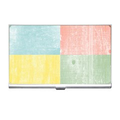 Pastel Textured Squares Business Card Holder