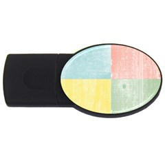 Pastel Textured Squares 1GB USB Flash Drive (Oval)